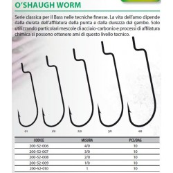 AMO RAPTURE O'SHAUGH WORM SIZE 1 - 1/0 - 2/0 - 3/0 - 4/0 ( COD. 200-52-006 200-52-007 200-52-008 200-52-009 200-52-010 )